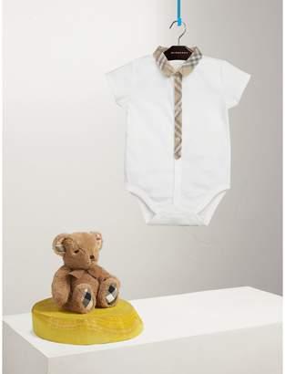 Burberry Check Detail Cotton Bodysuit