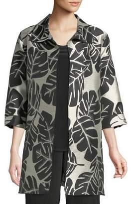 Caroline Rose Palm Paradise Jacquard Party Jacket, Plus Size