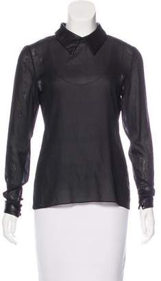 Wes Gordon Leather-Accented Silk Top