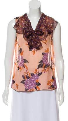 Anna Sui Sleeveless Floral Top