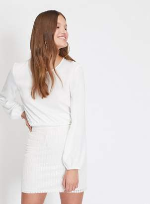 Miss Selfridge Winter white sequin mini skirt