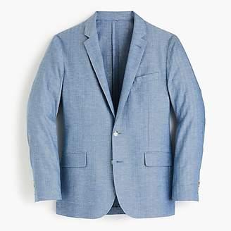 J.Crew Ludlow Slim-fit unstructured suit jacket in blue herringbone cotton-linen