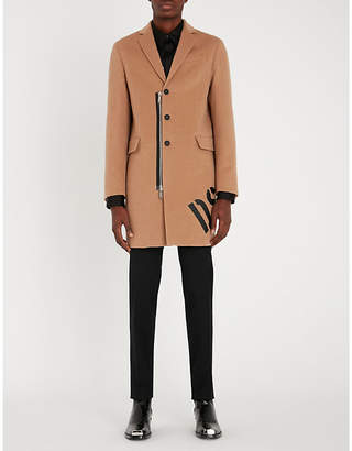 DSQUARED2 Contrast zip-trim wool and camel-blend coat
