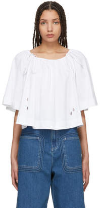 See by Chloe White Convertible Flowy Blouse