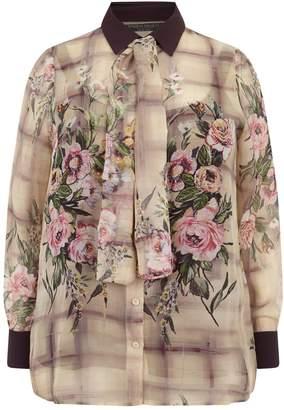 Marina Rinaldi Floral Check Blouse