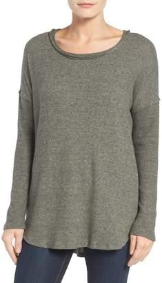 Bobeau Rib Long Sleeve Fuzzy Sweatshirt
