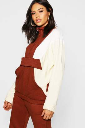 boohoo Tonal Colour Block Zip Pull Sweater