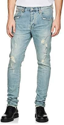 Purple Men's P002 Distressed Skinny Jeans