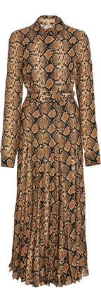 Michael Kors Pleated Snake-Print Silk Crepe De Chine Midi D