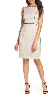 Vince Camuto Piped Lace Sheath Dress