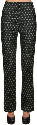 ALEXACHUNG Flared Floral Jacquard Tailored Pants