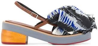 Marni printed ruffle front sandals