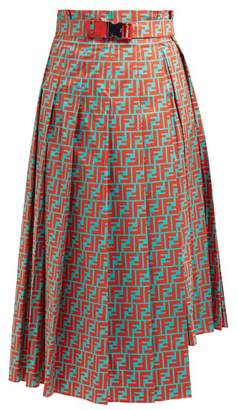 Fendi Logo Print Asymmetric Pleated Cotton Midi Skirt - Womens - Blue Multi