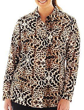 JCPenney Worthington® Long-Sleeve 100% Silk Blouse - Plus