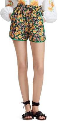 Maje Ikael Piped Floral-Motif Mini Shorts