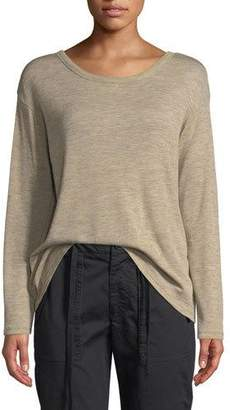 Vince Relaxed Long-Sleeve Wool Crewneck Top