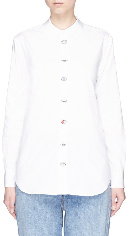 Equipment Equipment 'Reese' eye embroidered placket shirt