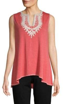 Max Studio Embroidered Sleeveless Top