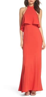 Xscape Evenings Crepe Popover Halter Gown