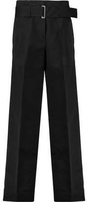 DKNY Belted Cotton-Blend Wide-Leg Pants