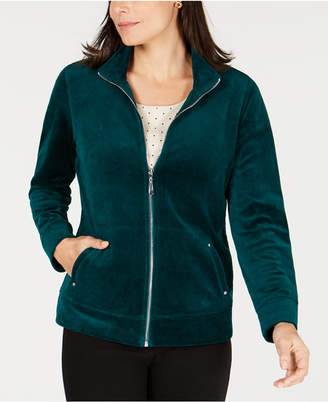 Karen Scott Velour Zip-Up Jacket