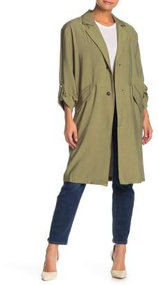 I. MADELINE Roll Sleeve Snap Button Twill Jacket