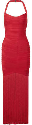 Herve Leger Fringed Bandage Halterneck Gown - Red