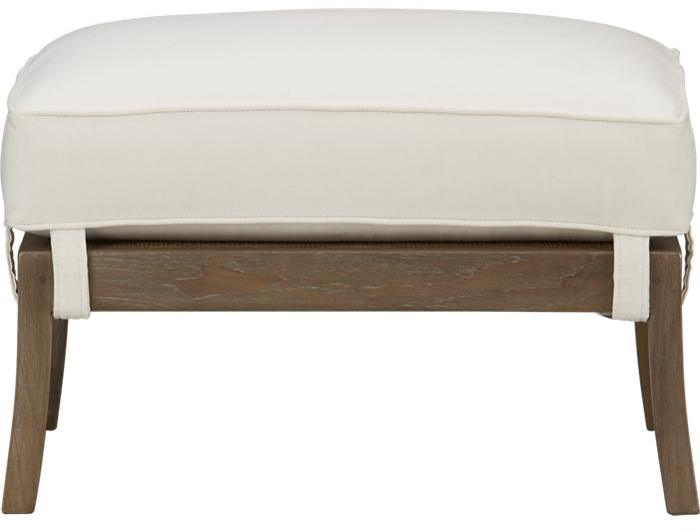 Crate & Barrel Blake Grey Wash Ottoman with Cushion
