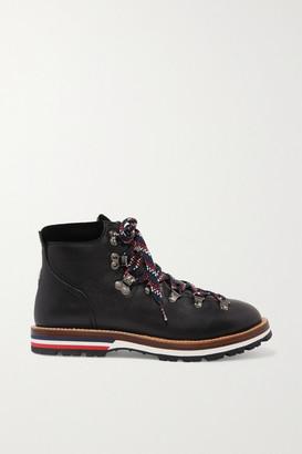 Moncler Blanche Velvet-trimmed Leather Ankle Boots - Black