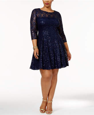 Sl Fashions Plus Size Sequined Lace Fit & Flare Dress