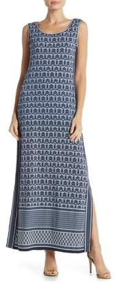 Max Studio Scoop Neck Print Maxi Dress