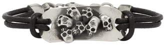 Luka Sabbat x Monini Black Plain Multi Skulls Plate Bracelet