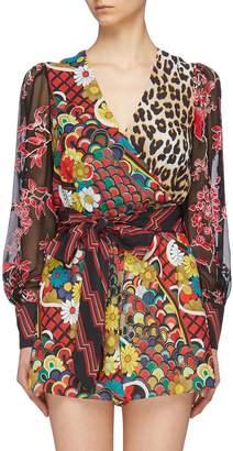 Alice + Olivia 'Nelia' belted blouson sleeve mix print rompers