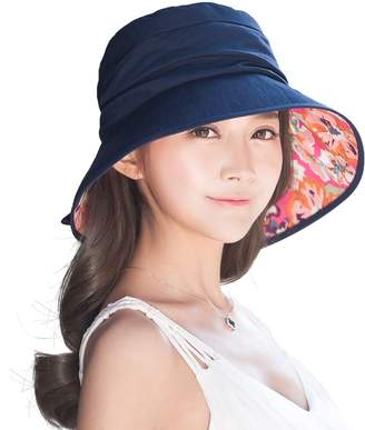 Siggi Bucket Cord Sun Hat Summer Cap Foldable Wide Brim UV SPF 50 for Women Navy