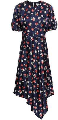 Milly Asymmetric Floral-print Silk-blend Satin Midi Dress