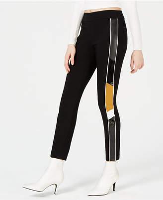 Bar III Faux-Leather-Stripe Skinny Pants