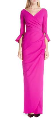 Chiara Boni Ruched Bell Sleeve Evening Dress