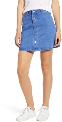 Paige Esma High Waist Denim Miniskirt