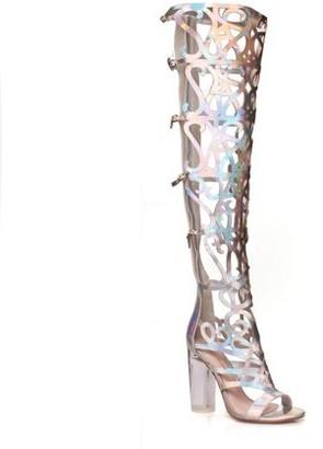 Fahrenheit Women's Cut Out Clear Heel Knee High Sandals