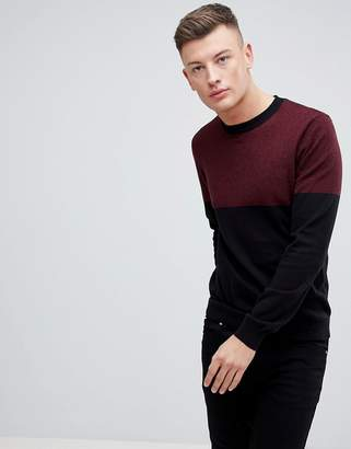 New Look Color Block Sweater In Burgundy And Navy