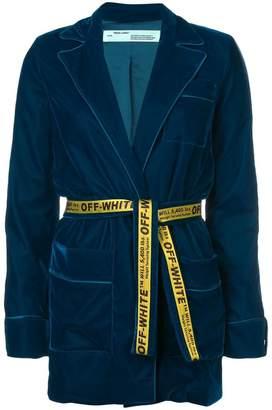 Off-White longline belted velvet blazer