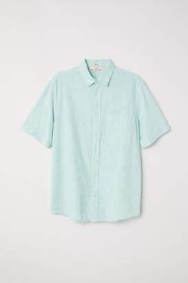 H&M Regular Fit Short-sleeve Shirt - Green