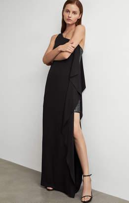 BCBGMAXAZRIA One-Shoulder Glitter Gown