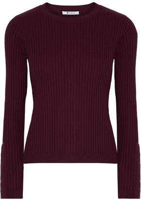 T by Alexander Wang - Ribbed Merino Wool-blend Sweater - Burgundy $325 thestylecure.com