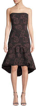 Aidan Mattox Strapless High-Low Rose-Thread Dress