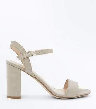 New Look Grey Suedette Block Heel Sandals