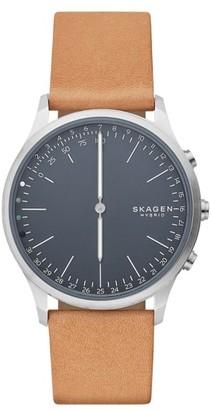 Men's Skagen Jorn Hybrid Leather Strap Smart Watch, 41Mm $175 thestylecure.com
