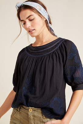 Anthropologie Salma Embroidered-Peasant Blouse