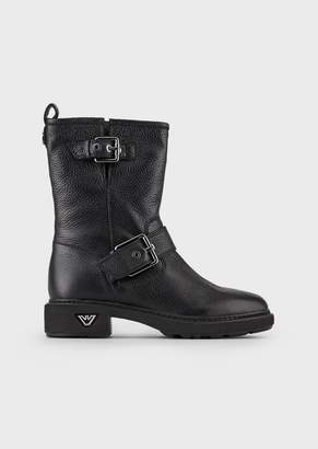 Emporio Armani Biker Booties In Wrinkled Leather With Buckles