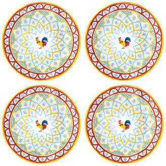 Q Squared Set of 4 Porto Chalé Melamine Dinner Plates - Red